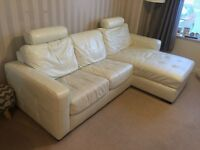 White Leather Sofa Bed with Chaise and Storage