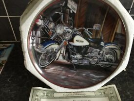 Harley Davidson commemorative plate and certificate by Franklin Mint.