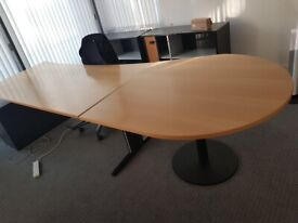 Golden oak office/meeting/conference table/desk with extension