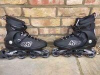 USED LIKE NEW BLACK K2 KINETIC 78 INLINE SKATES_ROLLER BLADES and K2 PRIME WRIST GUARDS SIZE UK 8 for sale  Ealing, London
