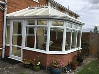 CONSERVATORY Victorian style approx. 3M x 3M White UPVC with double glazed glass windows. VGC.