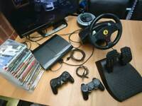 Ps3 console 2 controllers 20 games steering wheel