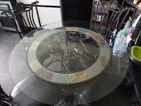 Cast Iron and Glass Dining Table and 4 Chairs