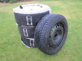 4 x Dunlop SP Winter Sport 3D Tyres (205/55 R16 91T) on Steel Wheels (plus Protective Covers)