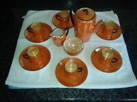 Collectable Tea Set Vintage Czech Orange Lusterware Tea/Coffee set c1920/30's