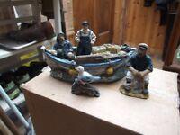 2 figers of cornish men fishing on boat man on stool &1 siegel