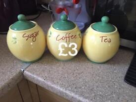 Sugar,tea,coffee canisters
