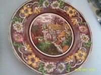 VINTAGE ANTIQUE PLATE COLLECTIBLE PLATE WITH FREE STAND FLORAL COUNTRY SIDE THEME 1950 s