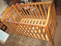 "MOTHERCARE SOLID PINE ""NORFOLK"" DROP-SIDE WOODEN COT DISMANTLED FOR EASY TRANSPORTATION"