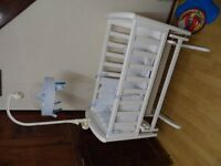WHITE BABY MUSICAL NURSERY COT BED @ COT BED MATTRESS EXCELLENT CONDITIONS .