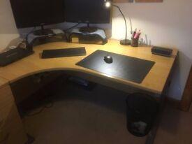 Office Furniture for sale - Corner desk, 3 drawer pedestal and 2 chairs - Oak Finish