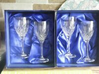 2 BOXED SETS OF ROYAL DOULTON CRYSTAL WINE GLASSES..2 X RED WINE + 2 X WHITE WINE..PERFECT CONDITION
