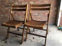 Set of 2 Solid Wood Folding Garden Chairs