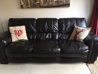 Leather Sofa-3 Seater & Armchair-Dark Brown