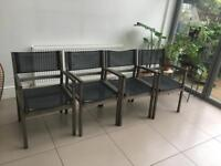 4 Wooden and mesh garden chairs