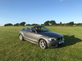 BMW 1 series M Sport convertible grey with red leather interior