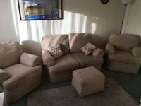 M&S 2 Seat Sofa & Chairs with pillows