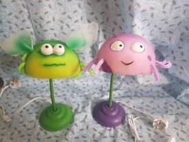 2x Novelty bug lamps desk lamps