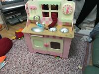 Kids Kitchen Wooden / with extension Option Pink & Cream Colour