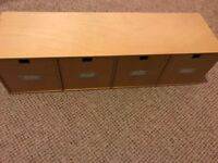 IKEA WOODEN 4 DRAWER UNIT IDEAL FOR CRAFT, CDs, DVD, STATIONERY, TOOLS OR NICK-NACS