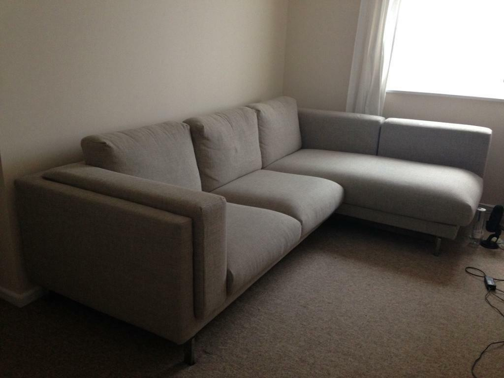 2 seat sofa with chaise long ikea nockeby in redcliffe for Chaise long sofa
