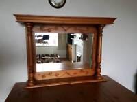 Mirror with antique pine surround