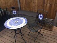 Wrought Iron & Mosiac Patio / Bistro Set Garden Table & Chairs