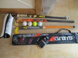 Mixed lot of hockey sticks & kit for young person 11 to 17 years