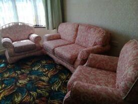 Three piece suite pink fabric