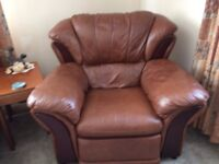 tan leather 3 piece suite 3+1+1 and storage footstool very good condition £350 o.n.o