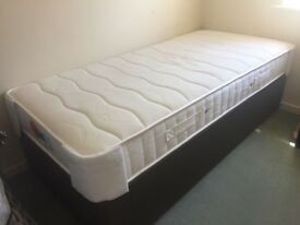 Classic castor base single bed Brown with Wakefield Mattress