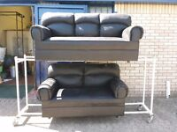 black leather suede fabric 3 seater and 2 seater sofa suite