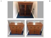 2x Small Teak Sideboards & Matching Glass Cabinet With Light,