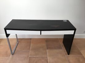 IKEA Office Desk & Cabinet - Black and White