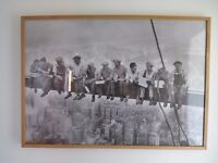 Very large framed print of New York construction workers taking a break