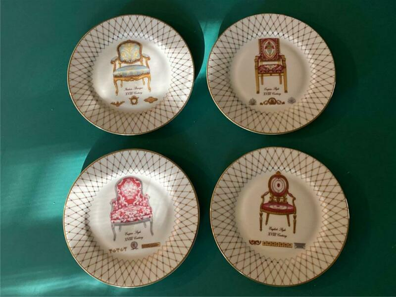 Lot 4 Lenox French Chairs 7.5 inch Salad Plates   Free Shipping