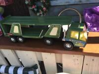 Vintage metal car transporter toy