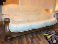 2 pc suite Cream Leather on Solid Wood base. 3 seater Sofa plus Armchair. £25