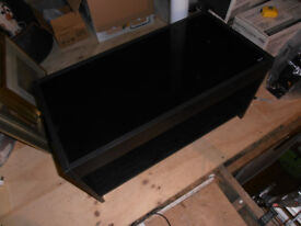 Black ash TV/AV stand with glass top