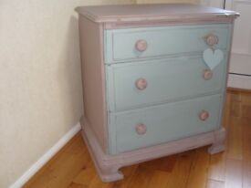 Shabby Chic Chest of 3 Drawers painted in Annie Sloan chalk paint Duck egg blue and beige