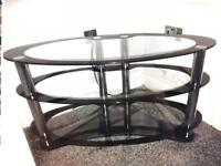 Glass Coffee Table, black and clear glass.