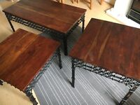 Solid Wood and Cast Iron Coffee Table and two matching Side Tables- Furniture Village