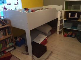 Child's mid sleeper with mattress, white from Aspace