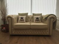 SAXON 2 seater cream leather Chesterfield sofa