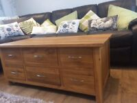 Solid oak (no veneer) coffee table and nest of tables