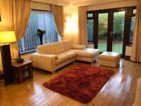 Violino® Italian Cream Leather Corner Sofa With Chrome Feet + Footrest As New Condition