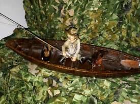 Vintage fisherman in boat