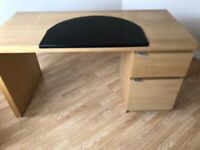Large Ikea desk with leather effect desk saver ideal for home office or crafting table
