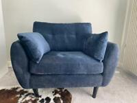 Like New - Navy Wilson button 2 seater cuddle chair in Distressed Velour Fabric