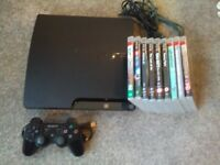 PS3 Slim with 9 games + Controller